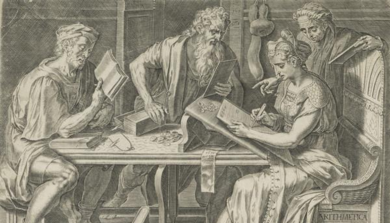 Cornelis Cort - Arithmetic (Plate 2 from 'The Seven Liberal Arts')