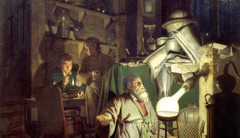 The Alchemist in Search of the Philosopher's Stone, by Joseph Wright, 1771
