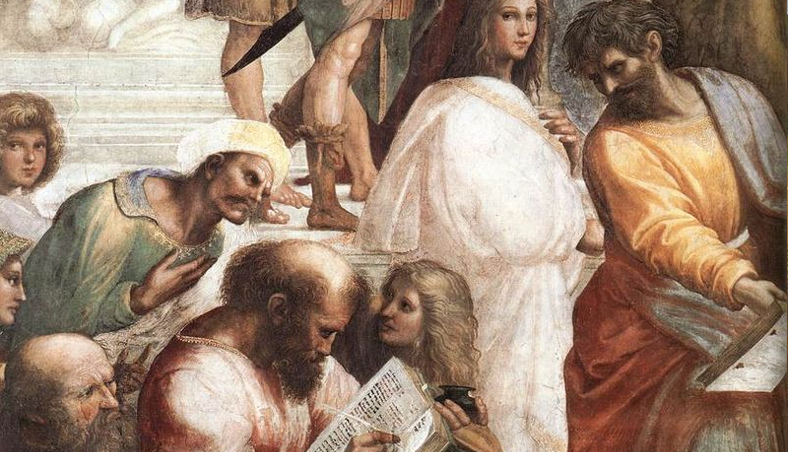 Pythagoras, the man in the center with the book, teaching music, in Raphael's The School of Athens